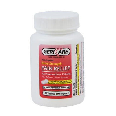 GeriCare Acetaminophen Pain Relief, Extra Strength, 500mg 100 Tablets