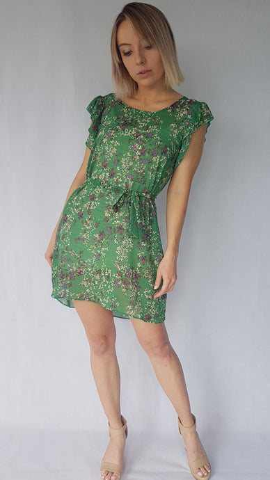 FLOWER  SHOULDER RUFFLE DRESS