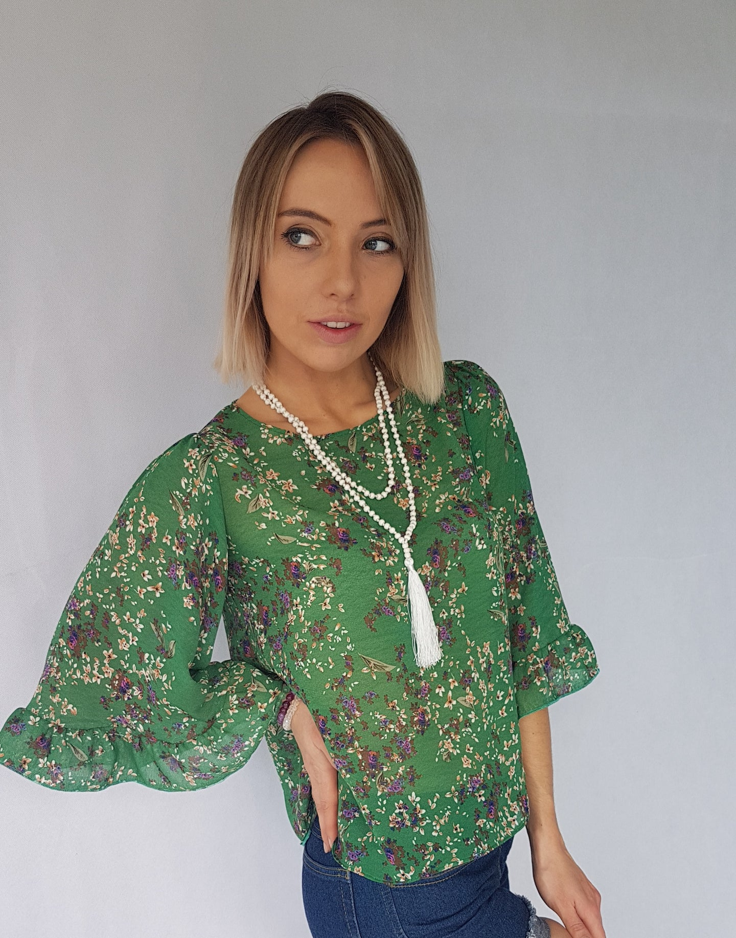 GREEN FLOWER RUFFLE TOP