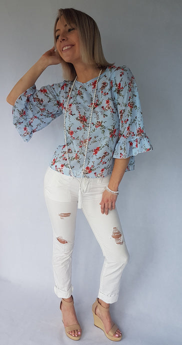 SUMMER BREEZE RUFFLE TOP