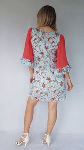 CORAL BREEZE RUFFLE DRESS