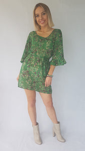 GREEN FLOWER DRESS