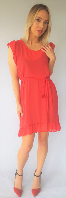 FIRE RUFFLE SHOULDER DRESS