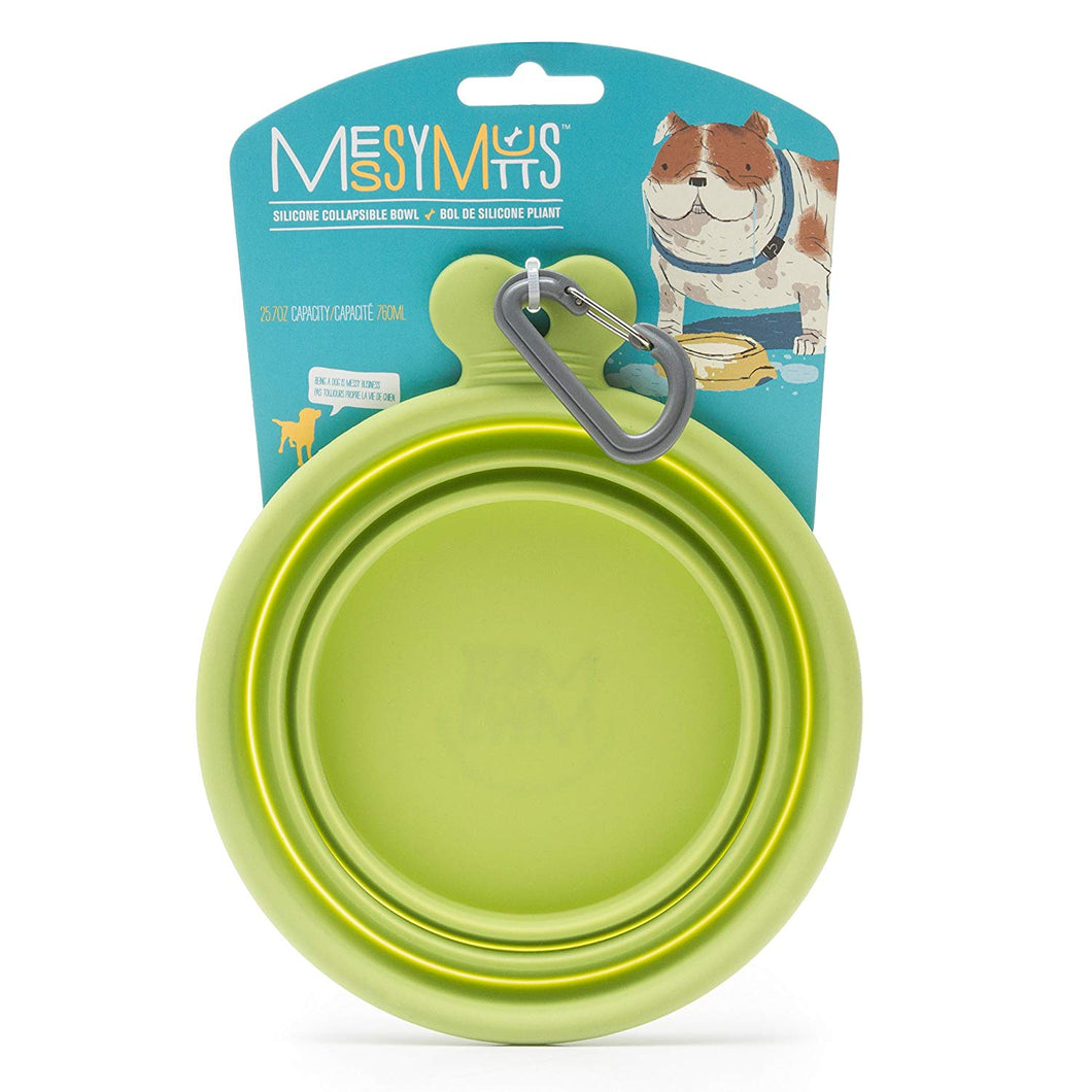 Green Silicone Collapsible Bowl | Messy Mutts
