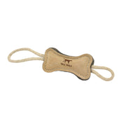 Natural Leather & Wool Bone Tug Toy 16"