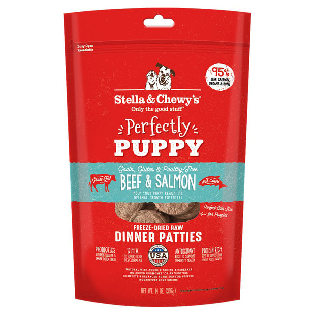 Beef & Salmon Freeze-dried Raw Dinner Patties for Puppies