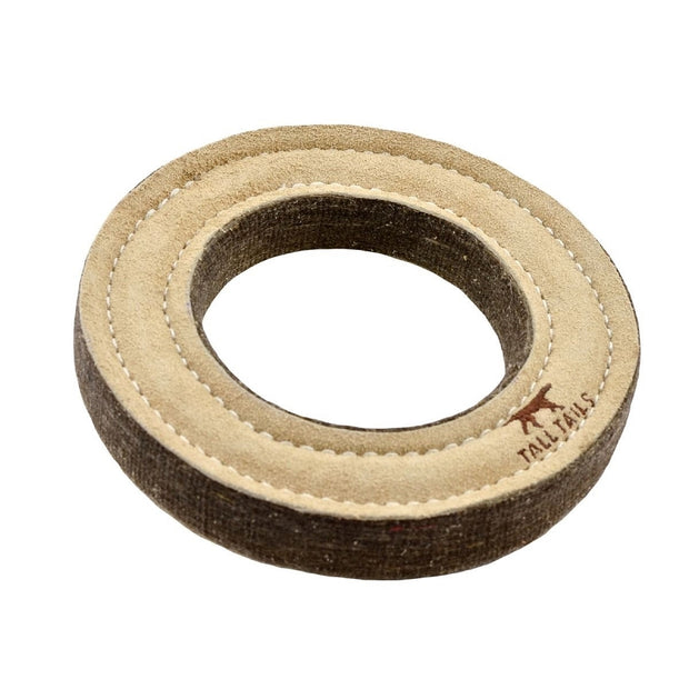 Natural Leather & Wool Ring Toy | Tall Tails