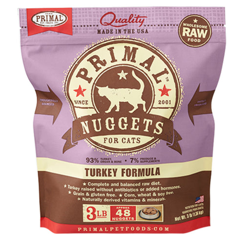 Turkey Frozen Raw Cat Food 3lb | Primal