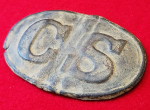 "EXCAVATED CONFEDERATE ""CS"" ROPE BORDER OVAL BUCKLE RECOVERED FROM PORT HUDSON, LA"