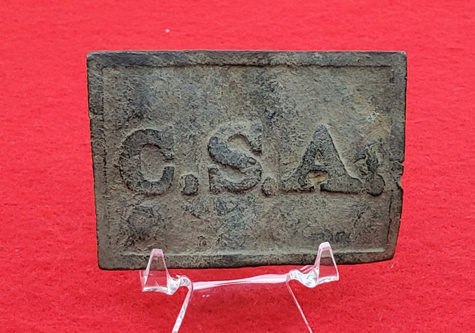 EXCAVATED CONFEDERATE CSA RECTANGLE BELT PLATE