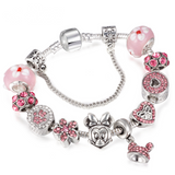 Silver Minnie Mouse Charm Bracelet with Murano Glass Beads