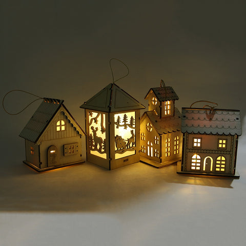 1PC Festival LED Light Wood House Christmas Tree Hanging Ornaments Holiday Nice Xmas Gift Wedding Decoration