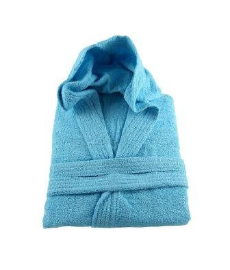 "Clearance! Aqua Hooded Bathrobe 100% Cotton Medium Chest Size 45""- 48"""