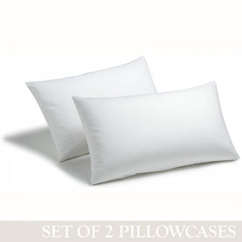 200 Threads Cotton Percale White Standard Size Pillowcases 40 Pairs