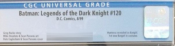 Batman: legends of the Dark Knight #120 CGC Label