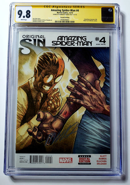 Amazing Spider-man #4 (Marvel 2014) Silk 1st Appearance, CGC SS 9.8 Ramos Signed