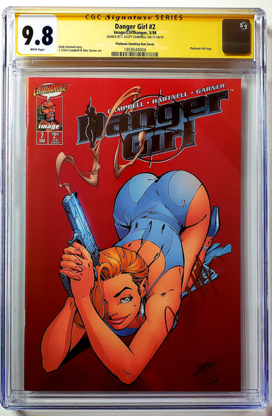 Danger Girl #2 (Image, 1998), Platinum Smoking Gun, Campbell Signed, CGC SS 9.8