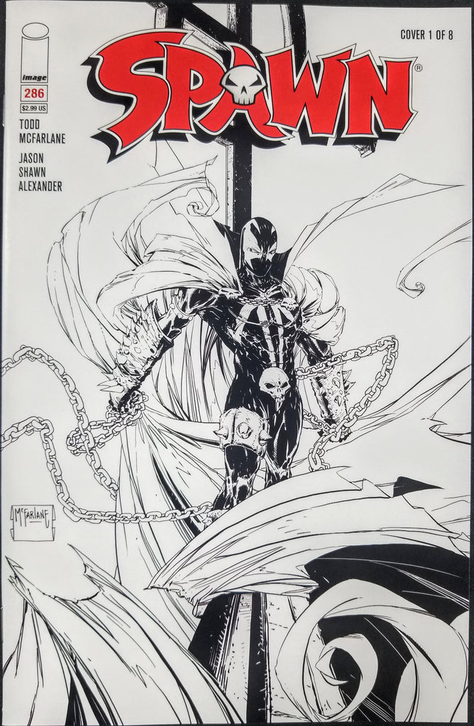 Spawn #286 (Image, 2018), Todd McFarlane, Cover #1, Black and White Variant