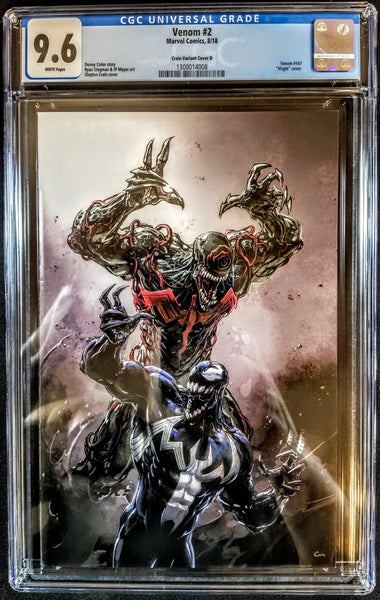 Venom #2 (Marvel, 2018), Heroes Con Crain Virgin Variant, CGC 9.6, NM, HOT!!!