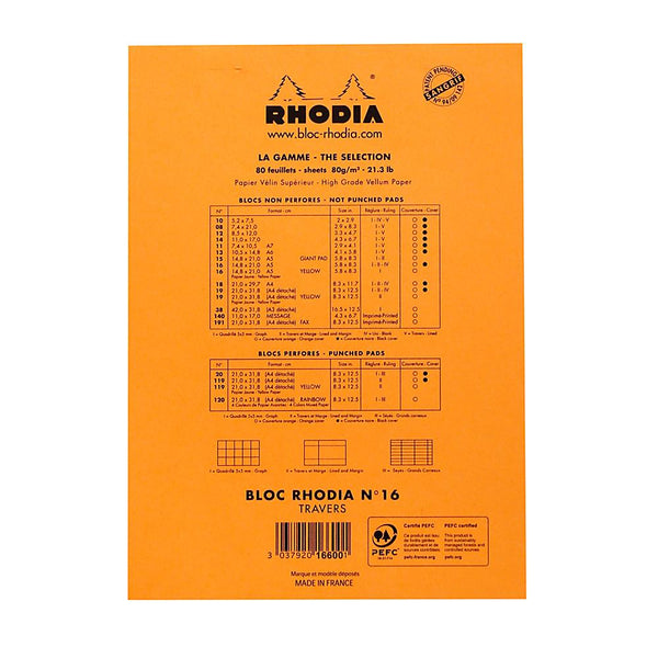 Midoco.ca: Rhodia #16 Ruled Notepad - Orange