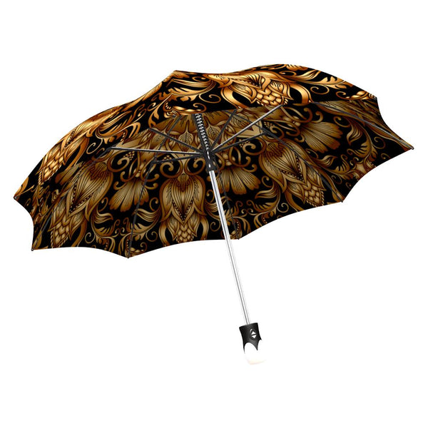 La Bella Folding Gold Floral Umbrella