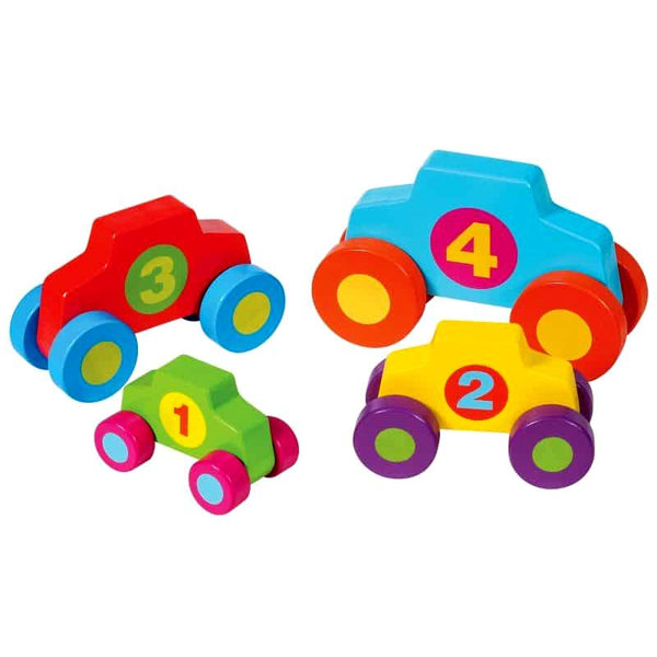 Schylling Lil' Classics Stack & Play Wood Cars Set of 4