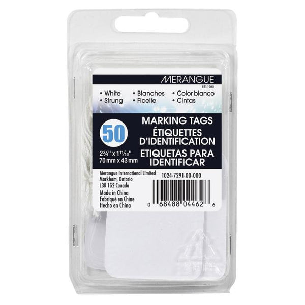 Merangue White String Tags 50pk