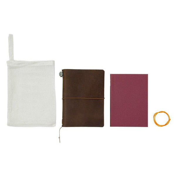 Midori Leather Passport Traveler's Notebook - Brown