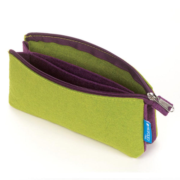 "Itoya Midtown Zipper Pouch 4x7"" Green & Purple"