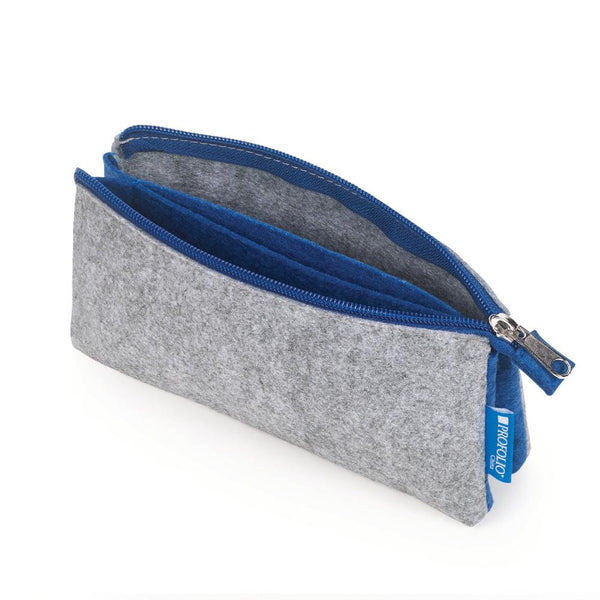"Itoya Midtown Zipper Pouch 4x7"" Grey & Blue"