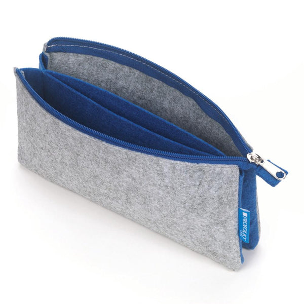 "Itoya Midtown Zipper Pouch 5x9"" Gray & Blue"