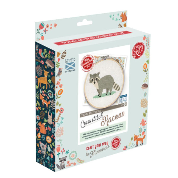 Crafty Kit Co Raccoon Cross Stitch Kit