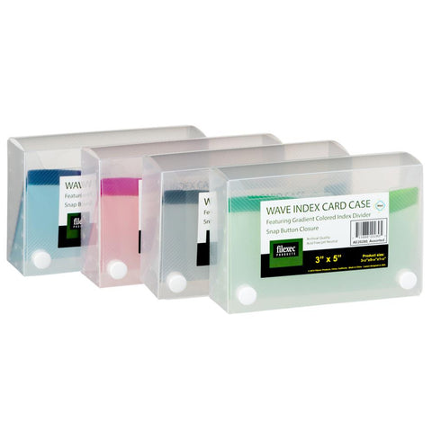 "Filexec Index Card Case 3x5"" Wave Assorted Colours"