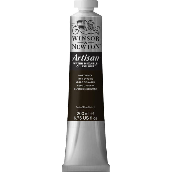 Winsor & Newton Artisan Water Mixable Oil 200mL Paint Tube - Ivory Black