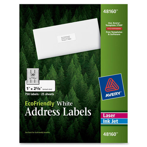 "Avery Eco White Inkjet Labels 2-5/8"" 750/pk"