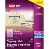 Midoco.ca: Avery Labels Clear Gloss Letter-Size 10-Sheets