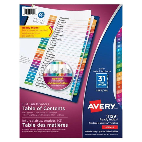 Midoco.ca: Avery Index Dividers 31 Tab
