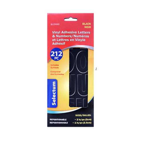 "Selectum Adhesive Letters Black 1"" & 2""-212pc"