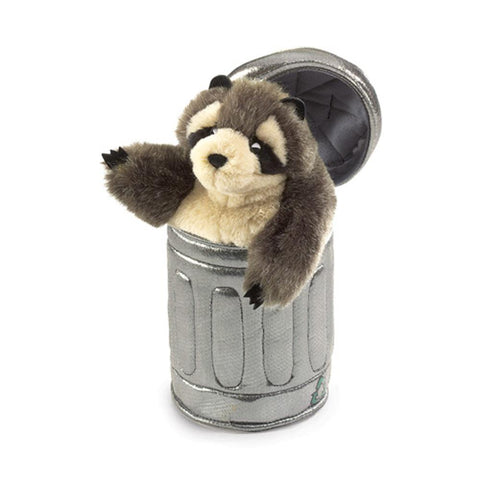 Midoco.ca: Folkmanis Hand Puppet Raccoon in Garbage Can