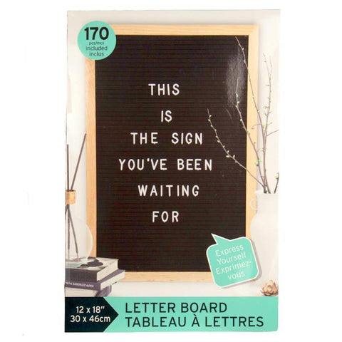 "Black Felt Message Board 12""x18"""