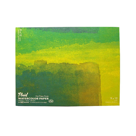 "Midoco.ca: Fluid Hot Press Watercolour Block 9""x12"" 140lb"