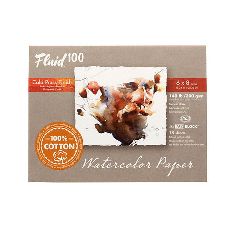 "Midoco.ca: Fluid100 Cold Press Watercolour Block 6""x8"" 140lb"