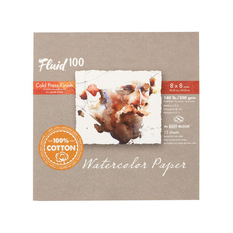 "Midoco.ca: Fluid100 Cold Press Watercolour Block 8""x8"" 140lb"