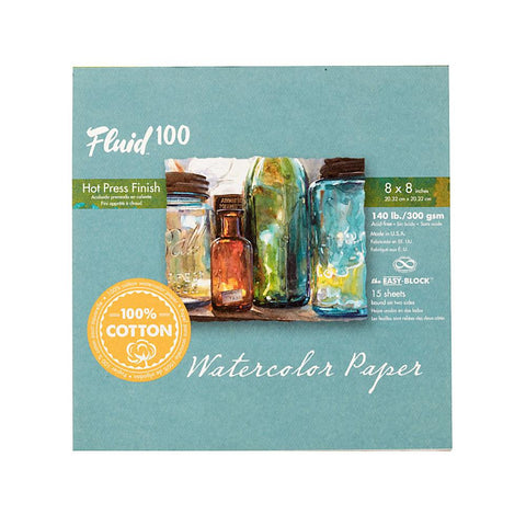 "Midoco.ca: Fluid100 Hot Press Watercolour Block 8""x8"" 140lb"