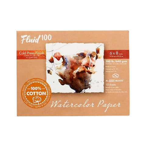 "Midoco.ca: Fluid100 Cold Press Watercolour Block 6""x8"" 300lb"