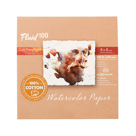 "Midoco.ca: Fluid100 Cold Press Watercolour Block 8""x8"" 300lb"