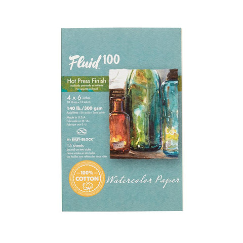 "Midoco.ca: Fluid100 Hot Press Watercolour Block 4""x6"" 140lb"