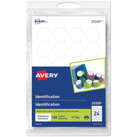 "Avery Round Multilable White 3/4"" 120pk"