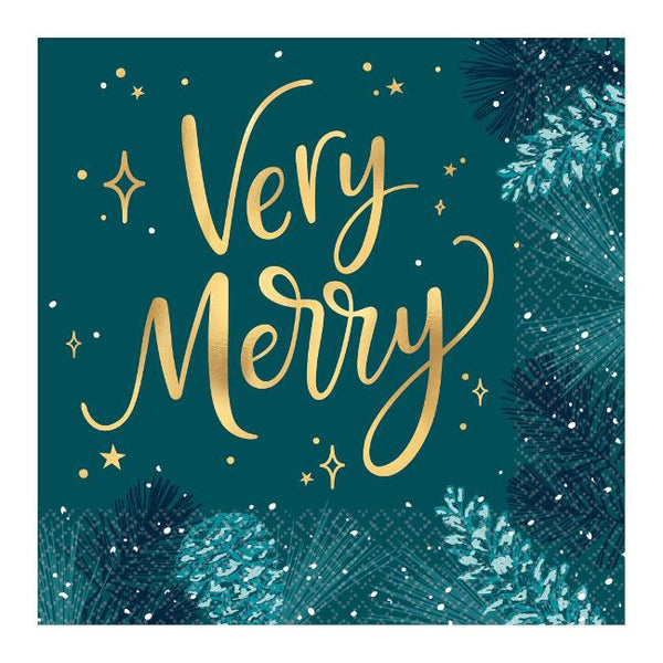 Amscan Very Merry Teal Lunch Napkins