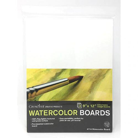 "Crescent Cold Press Watercolour Board 3pk 9""x12"""